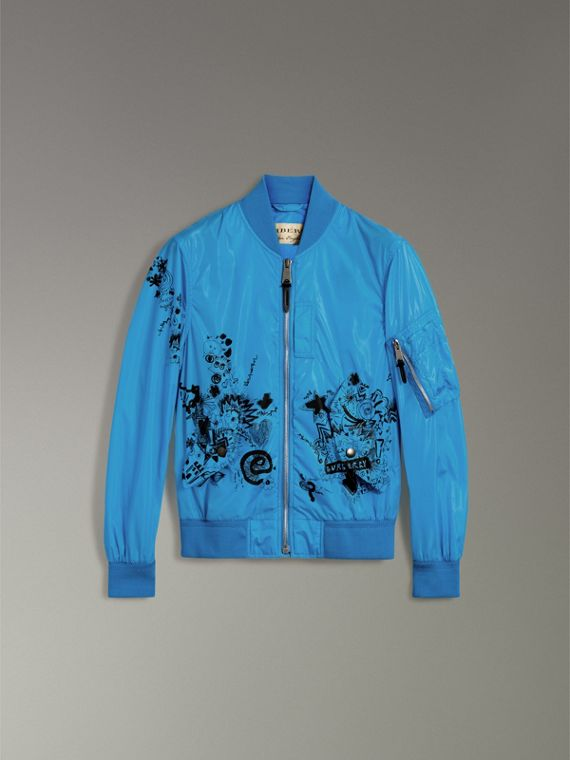 Doodle Print Bomber Jacket in Bright Blue - Men | Burberry - cell image 3