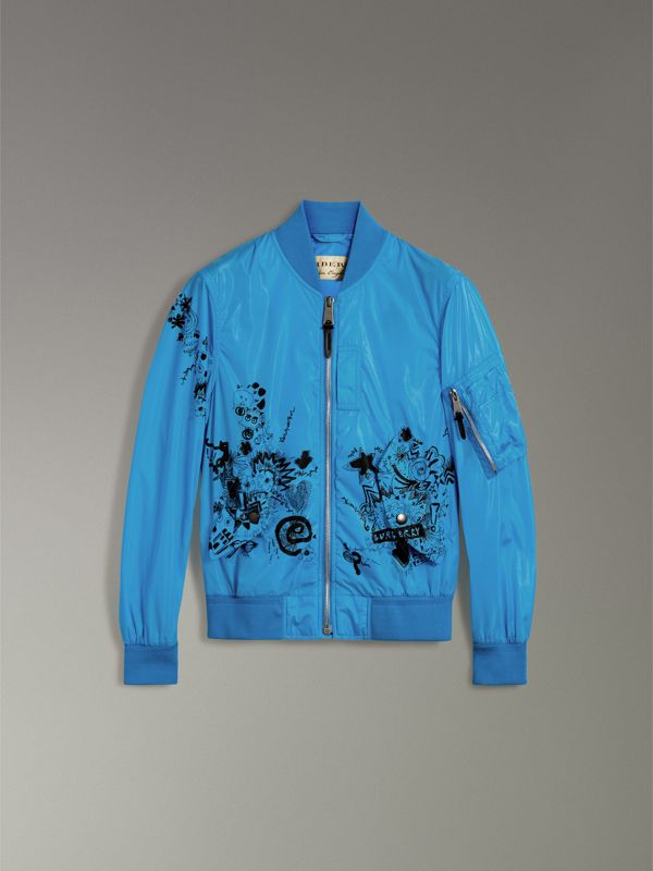 Doodle Print Bomber Jacket in Bright Blue | Burberry - cell image 3