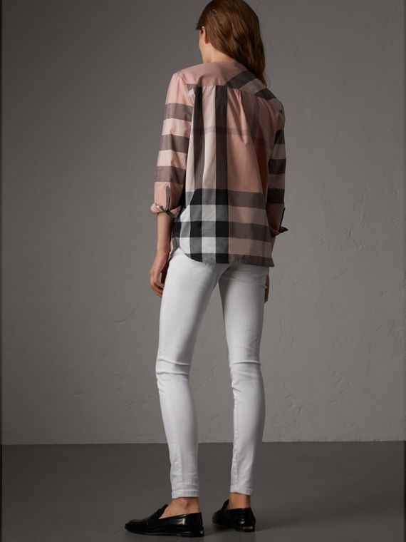 Check Grandad Collar Shirt in Antique Pink - Women | Burberry Australia - cell image 2