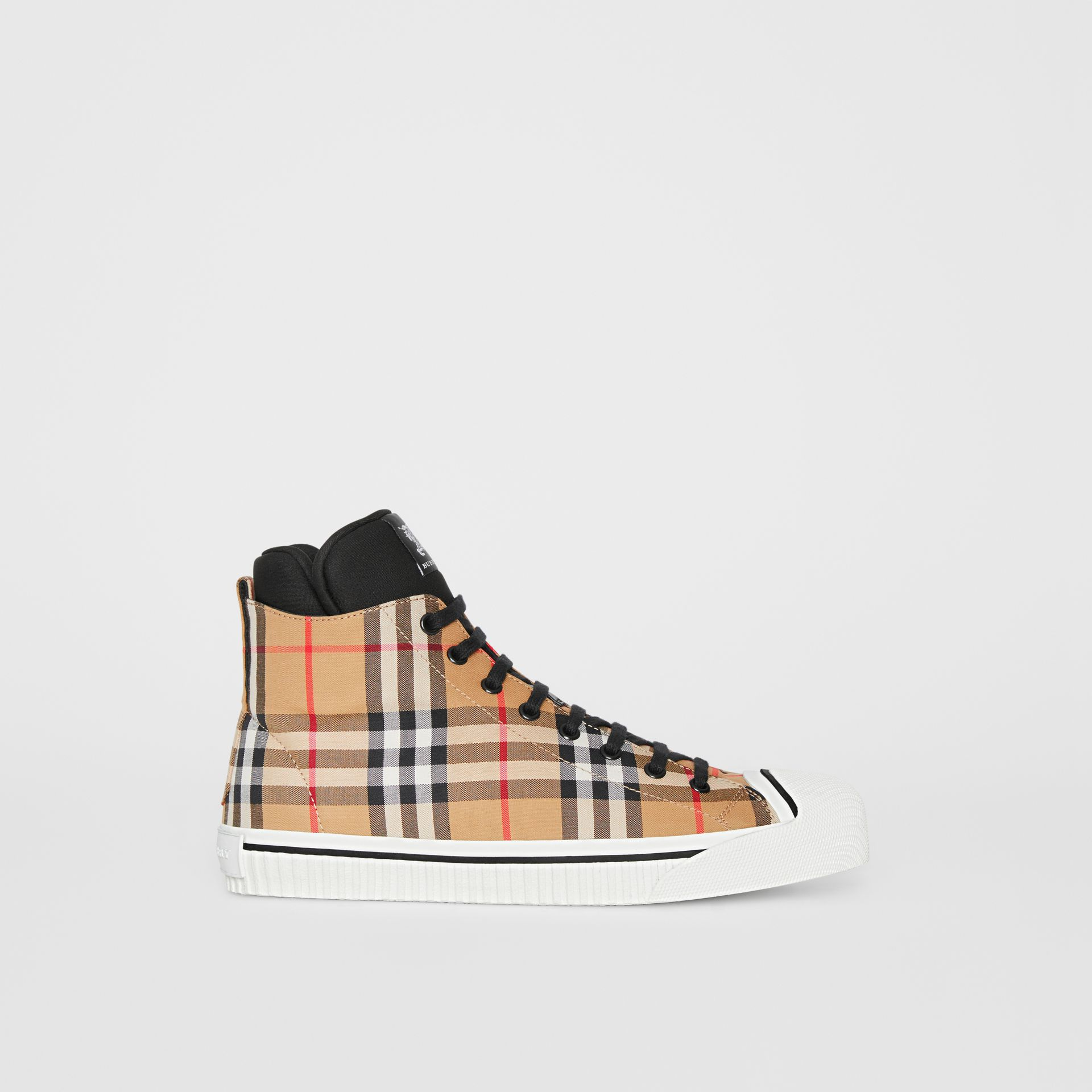 Vintage Check High-top Sneakers in Antique Yellow - Men | Burberry - gallery image 5