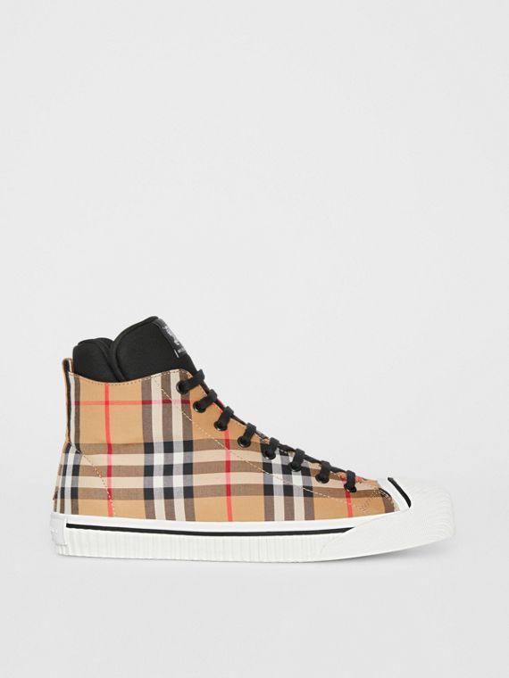 Vintage Check High-top Sneakers in Antique Yellow