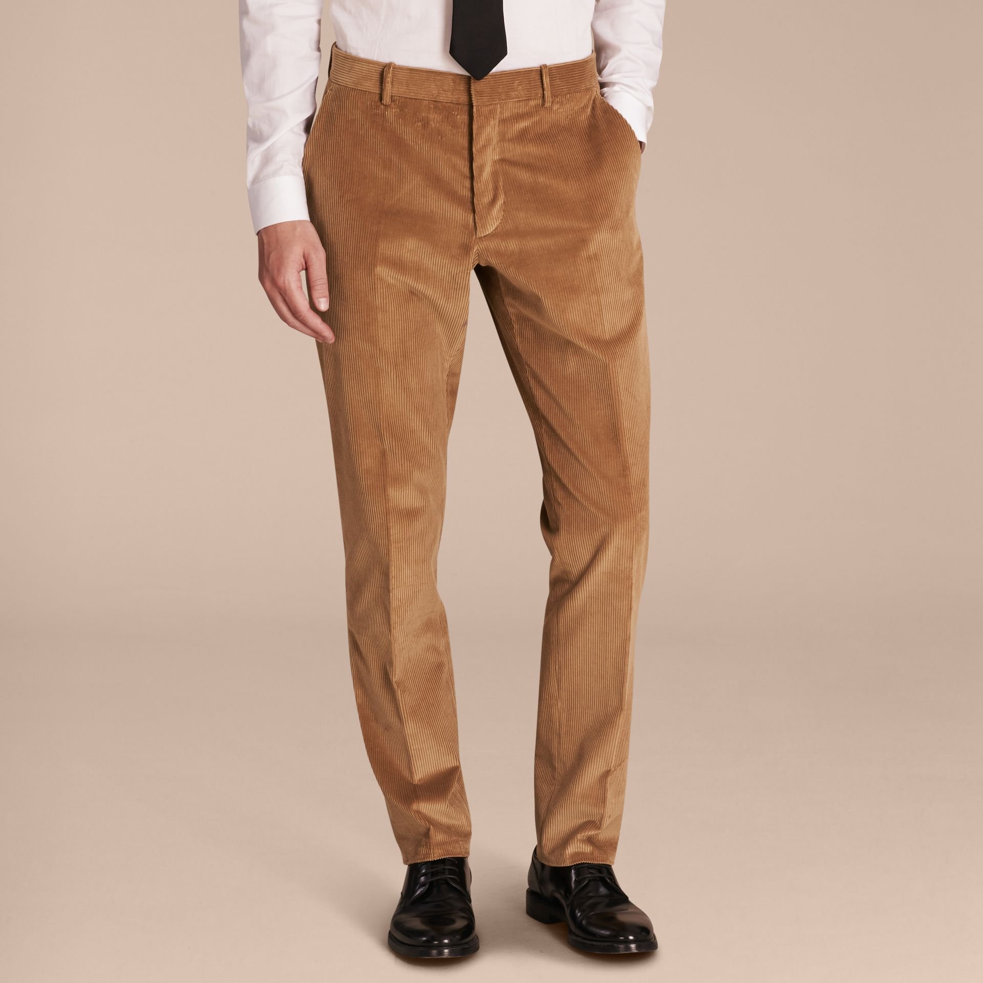 Camel Slim Fit Cotton Corduroy Trousers Camel - gallery image 6