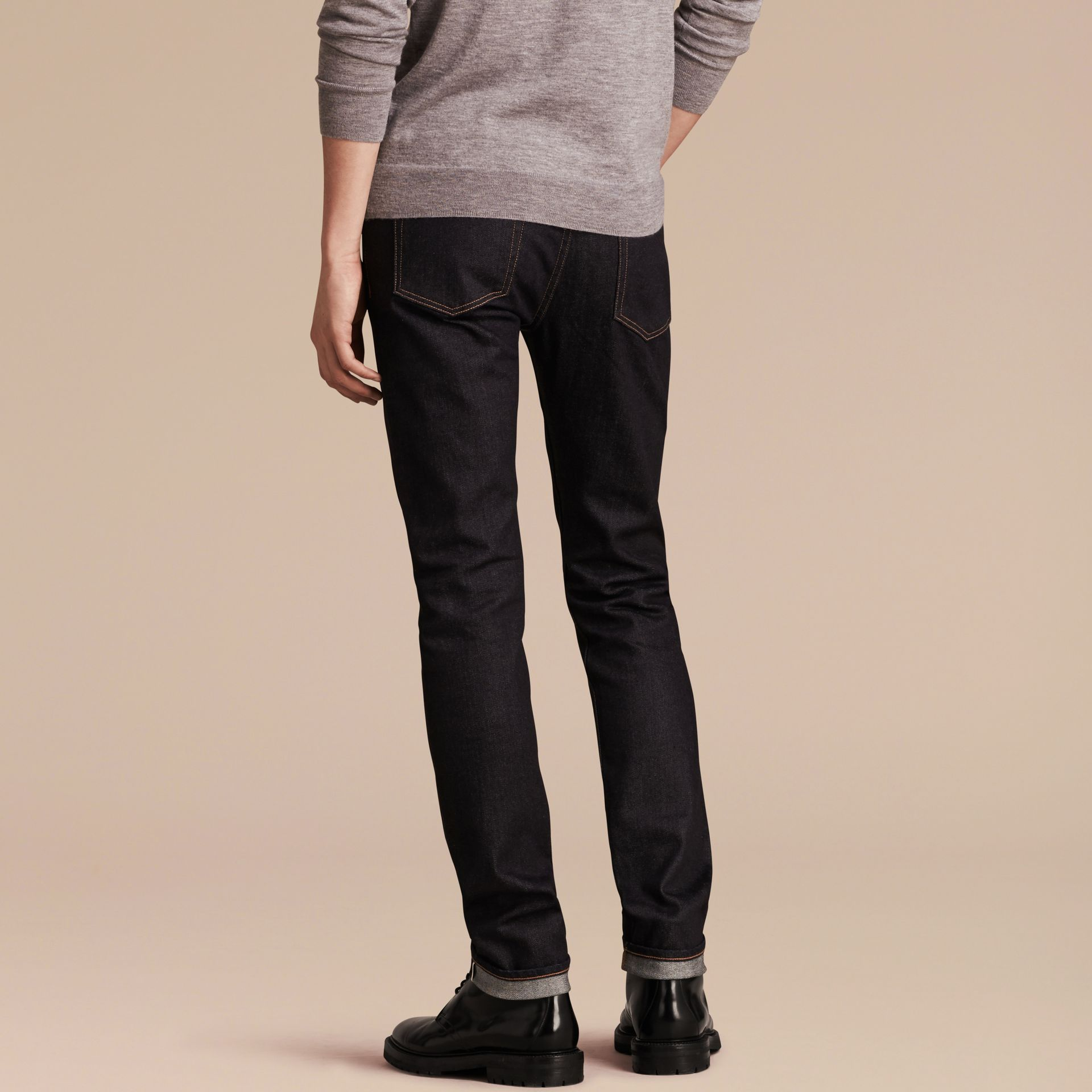 Dark indigo Slim Fit Stretch Japanese Selvedge Denim Jeans - gallery image 3