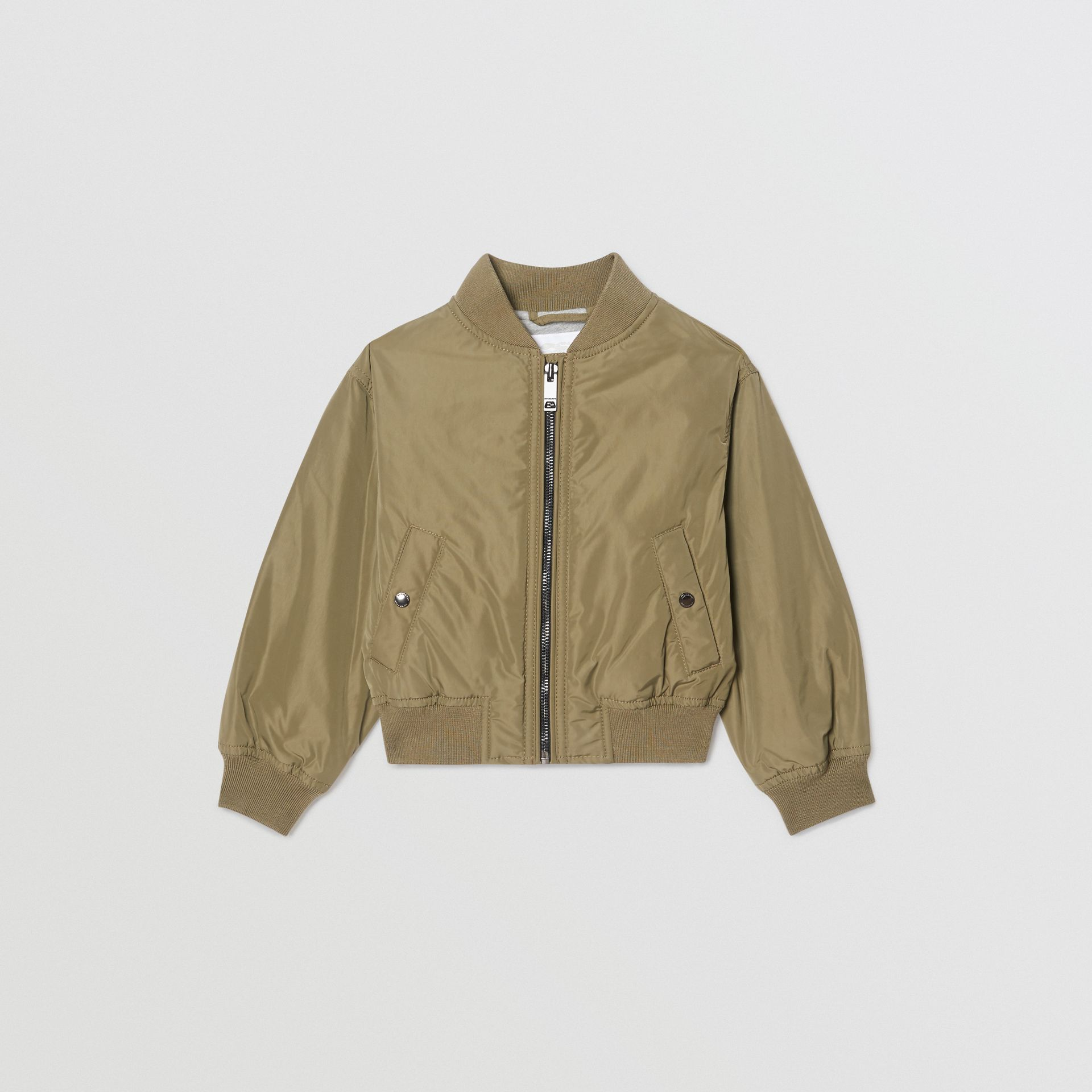 Logo Print Shape-memory Taffeta Bomber Jacket in Khaki - Children | Burberry - gallery image 0