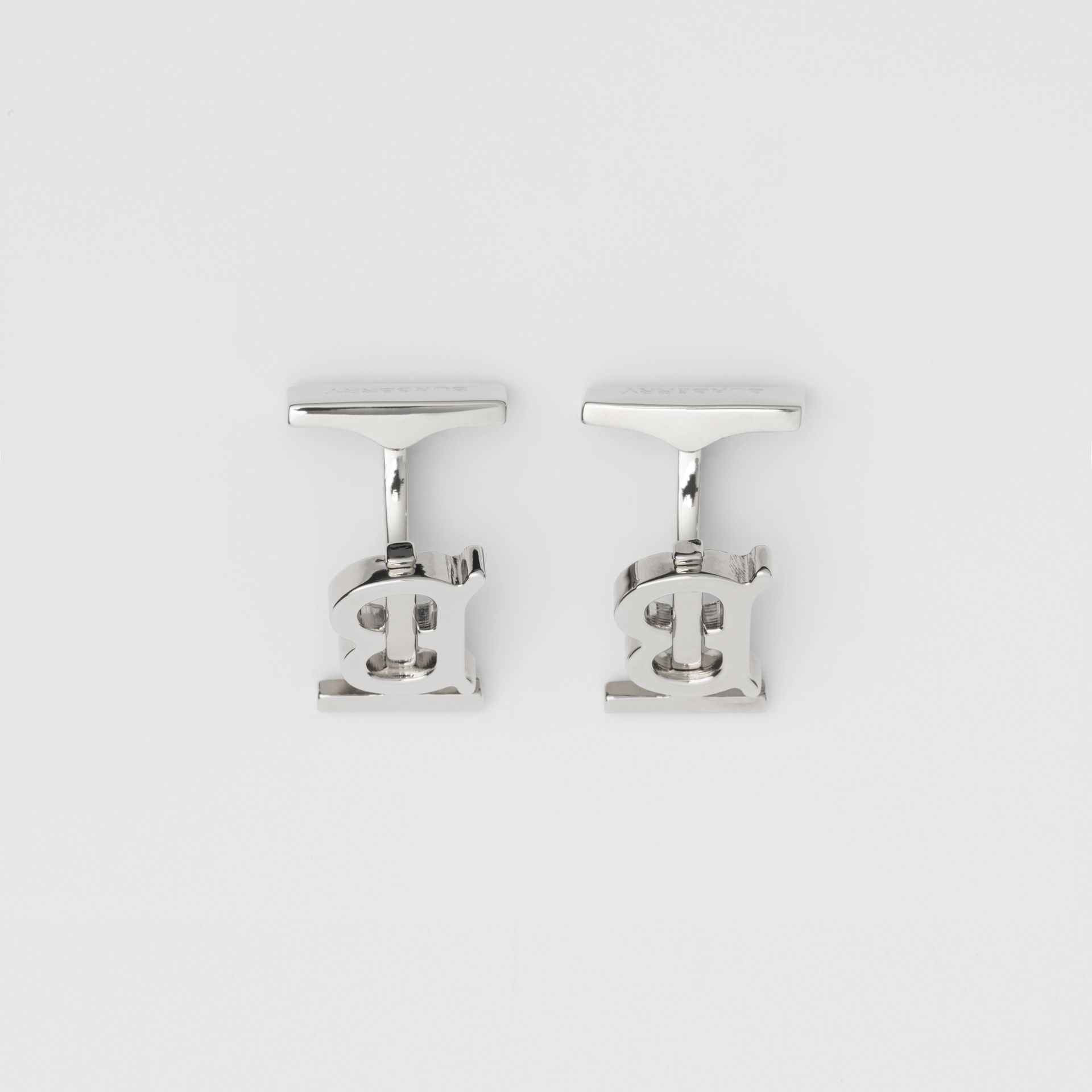 Monogram Motif Palladium-plated Cufflinks - Men | Burberry - gallery image 2