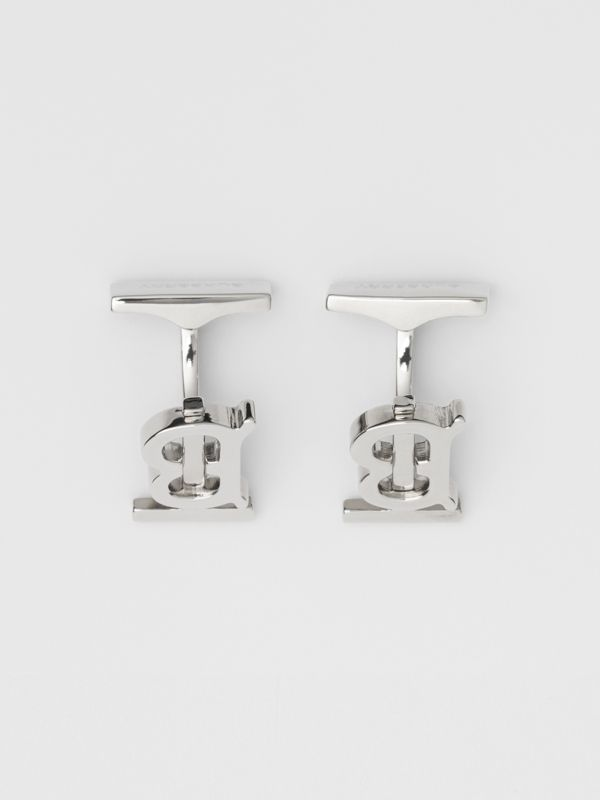 Monogram Motif Palladium-plated Cufflinks - Men | Burberry Singapore - cell image 2