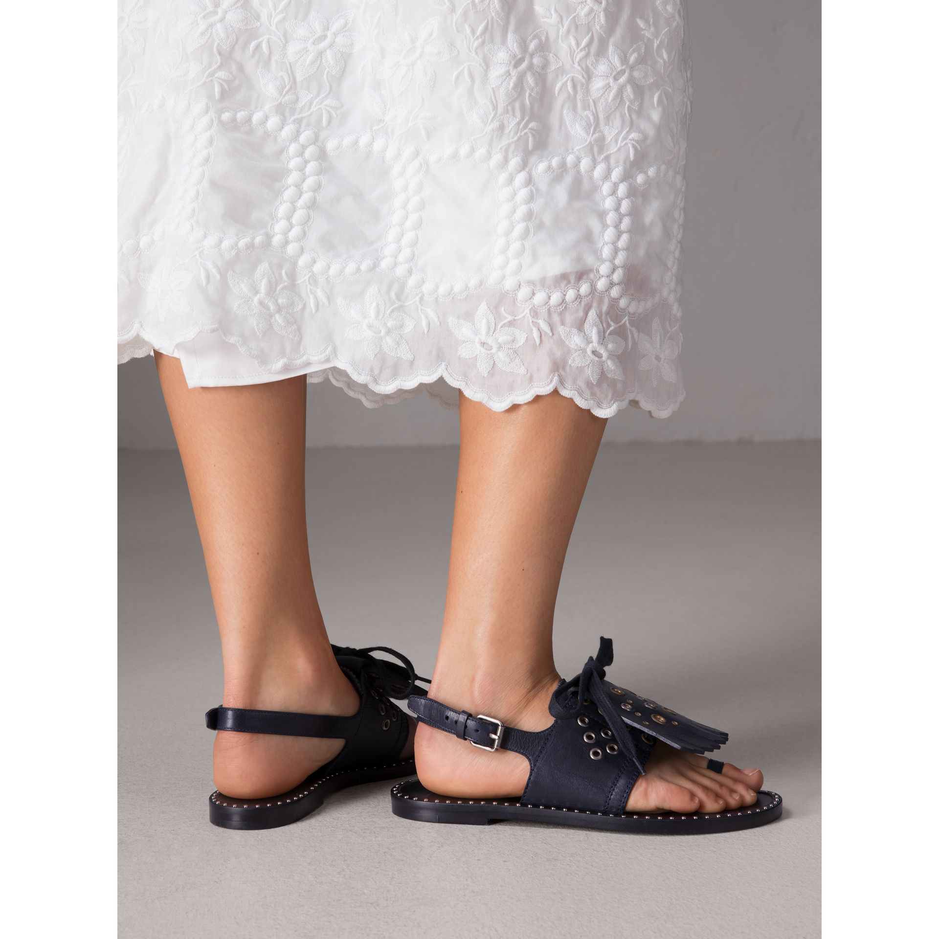 Kiltie Fringe Leather Sandals in Navy - Women | Burberry Canada - gallery image 3