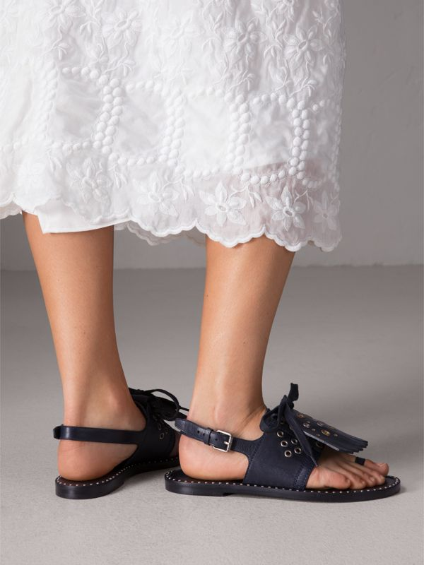 Kiltie Fringe Leather Sandals in Navy - Women | Burberry United Kingdom - cell image 3