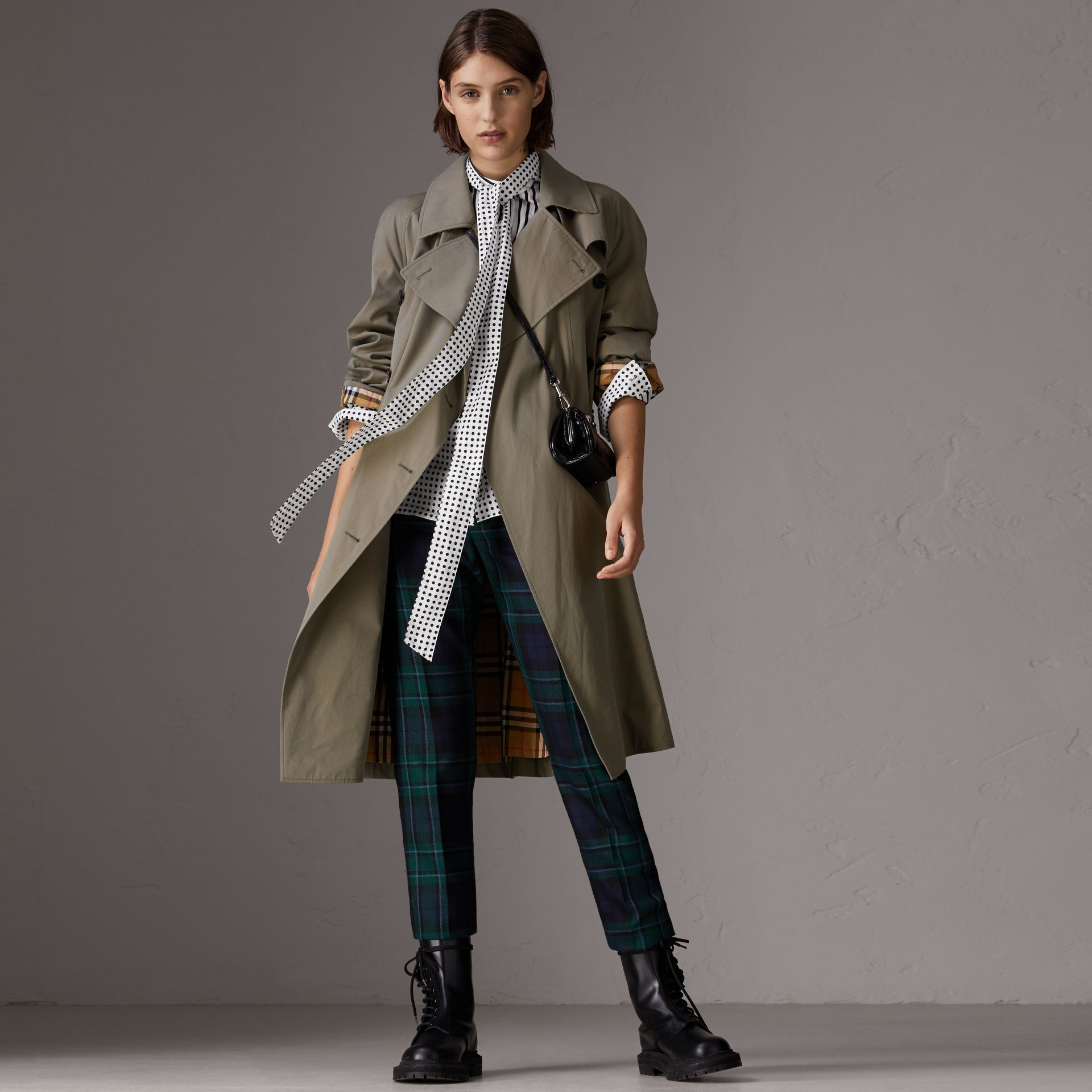 Tropical Gabardine Asymmetric Trench Coat in Chalk Green - Women | Burberry United Kingdom - gallery image 6