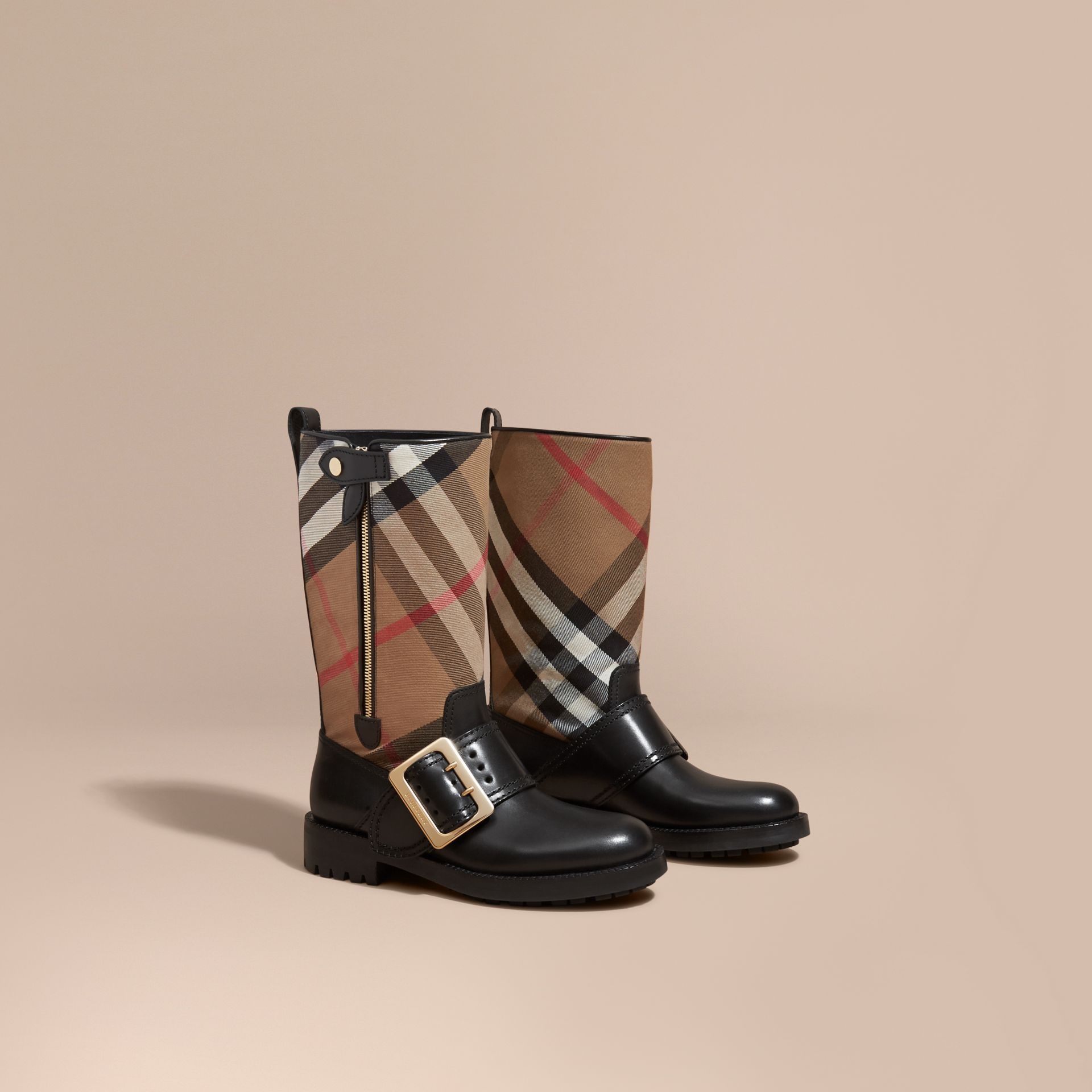 House Check Buckle Detail Leather Boots in Classic - Women | Burberry - gallery image 1