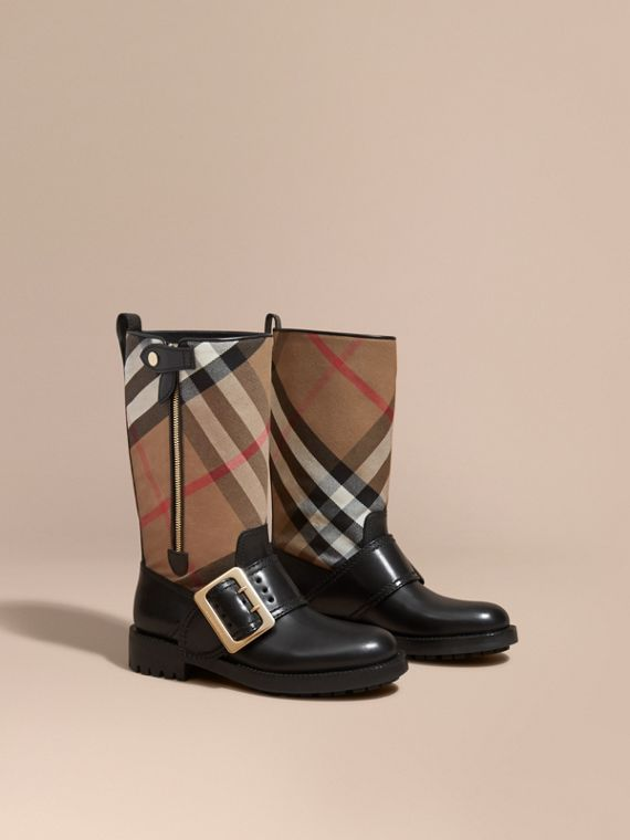 House Check Buckle Detail Leather Boots - Women | Burberry Canada
