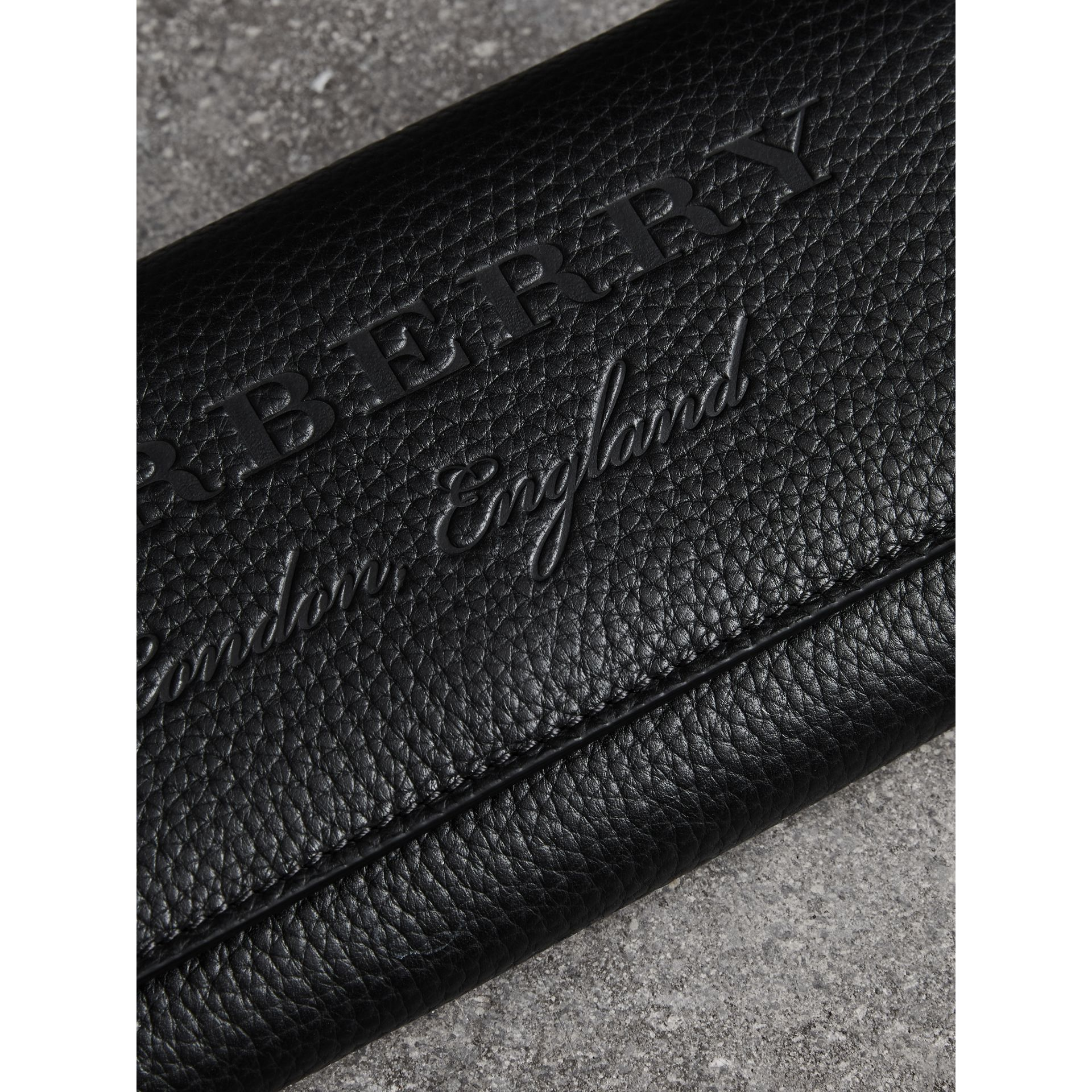 Embossed Leather Continental Wallet in Black - Women | Burberry - gallery image 1