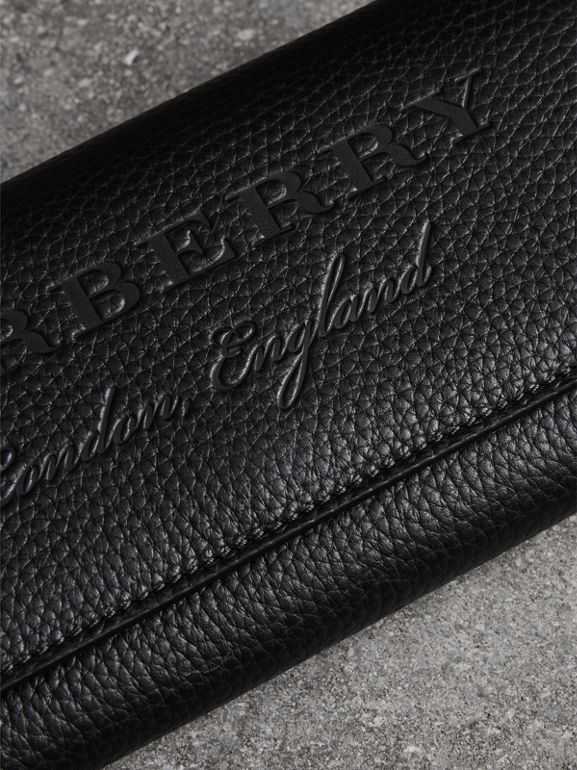 Embossed Leather Continental Wallet in Black - Women | Burberry United Kingdom - cell image 1