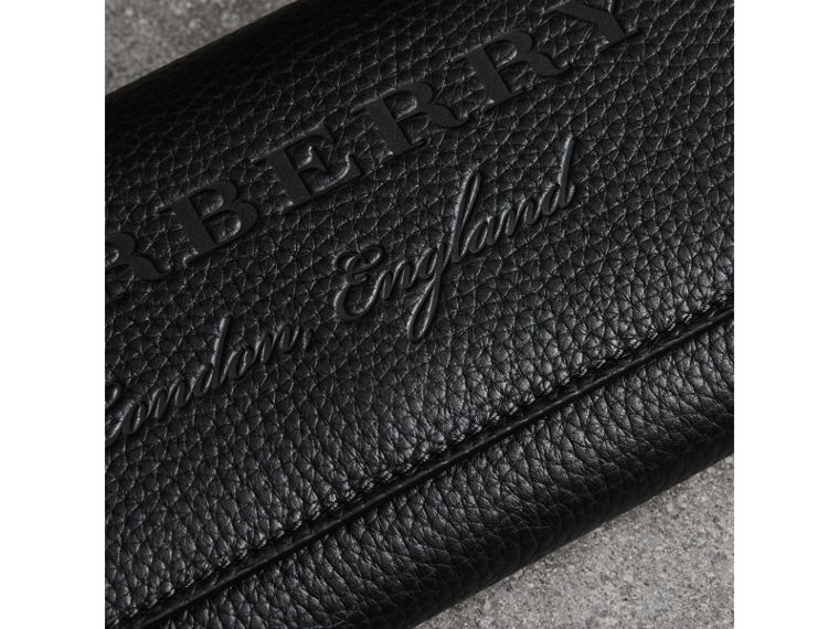Embossed Leather Continental Wallet in Black - Women | Burberry United States - cell image 1