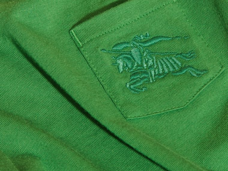 Verde felce brillante T-shirt girocollo in cotone Verde Felce Brillante - cell image 1