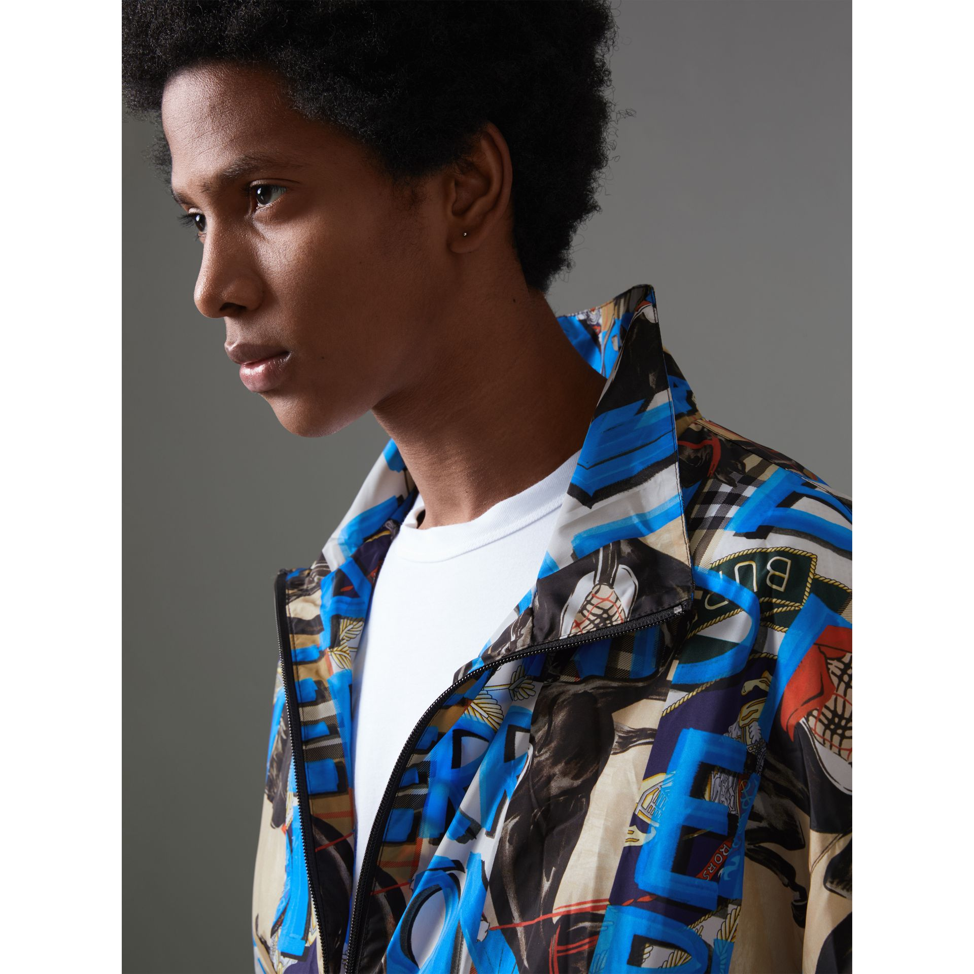 Graffiti Archive Scarf Print Shell Jacket in Antique Yellow - Men | Burberry Hong Kong - gallery image 1