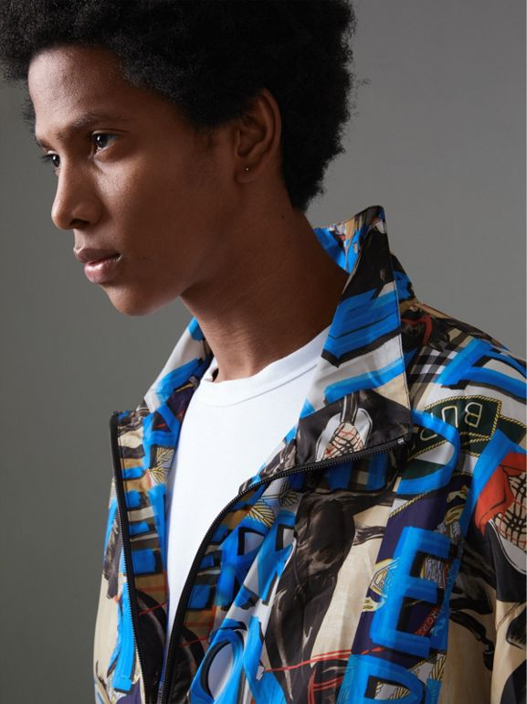 Graffiti Archive Scarf Print Shell Jacket in Antique Yellow - Men | Burberry - cell image 1