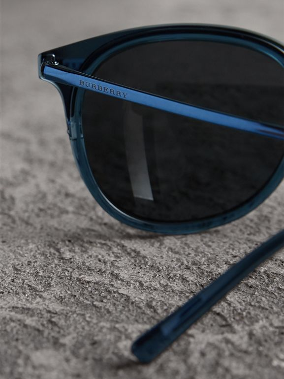 Round Frame Sunglasses in Blue - Men | Burberry - cell image 1
