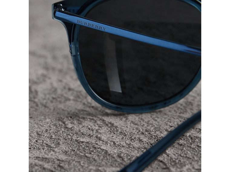Round Frame Sunglasses in Blue - Men | Burberry Australia - cell image 1