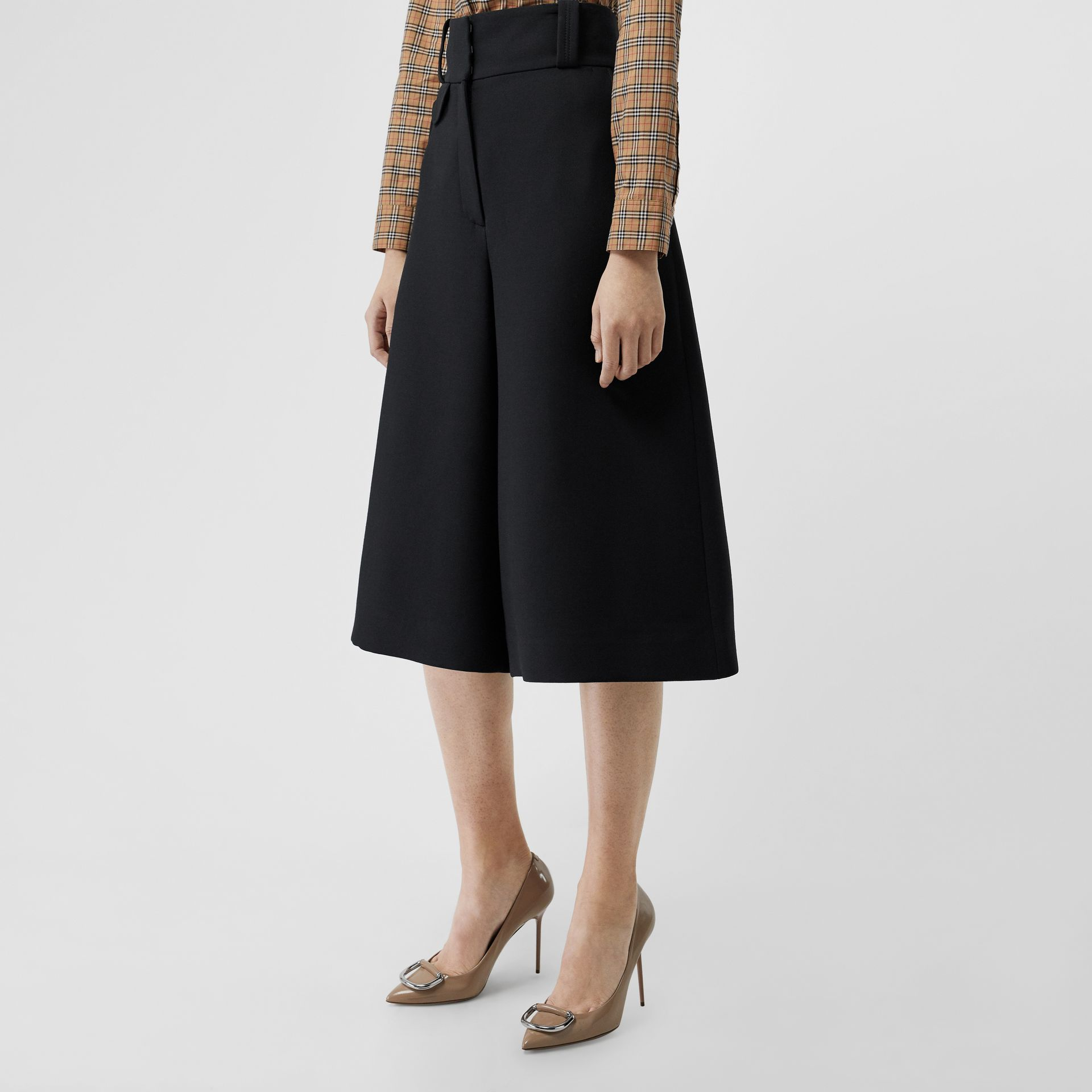 Wool Silk Wide-leg Culottes in Black - Women | Burberry - gallery image 0