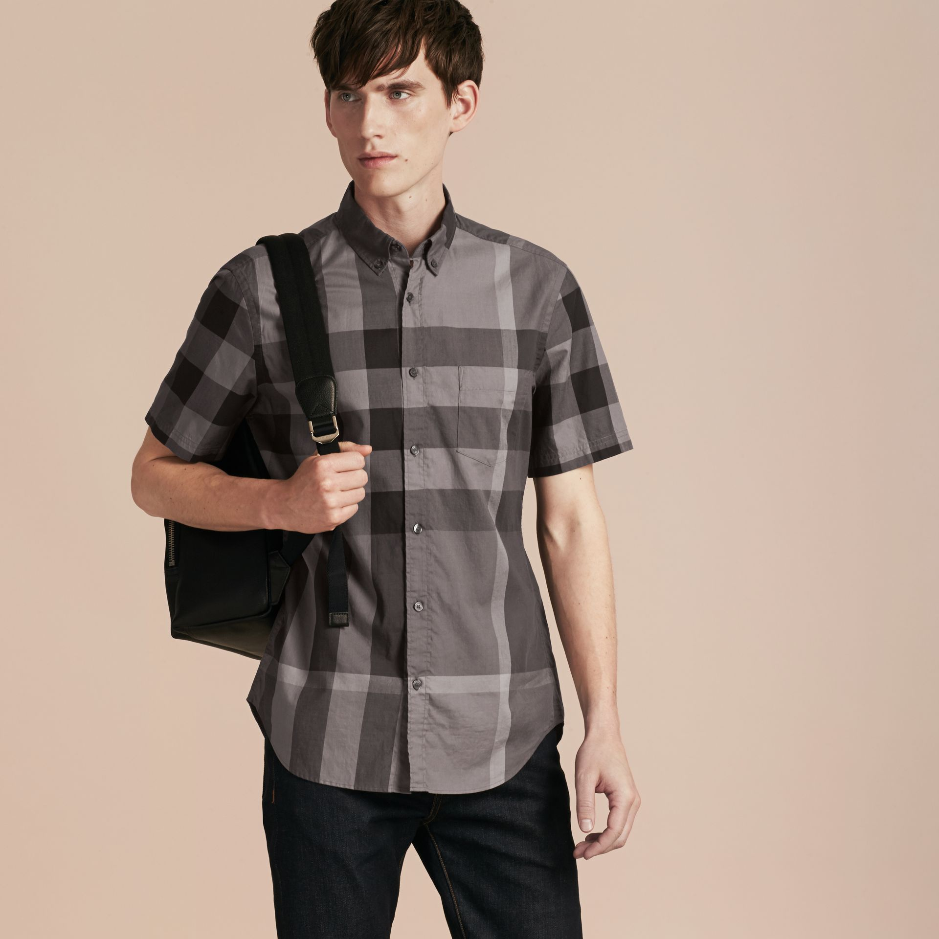 Charcoal Short-sleeved Check Cotton Shirt Charcoal - gallery image 1