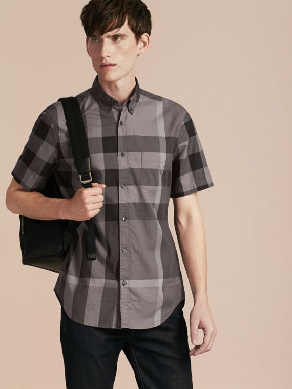 Short-sleeved Check Cotton Shirt Charcoal