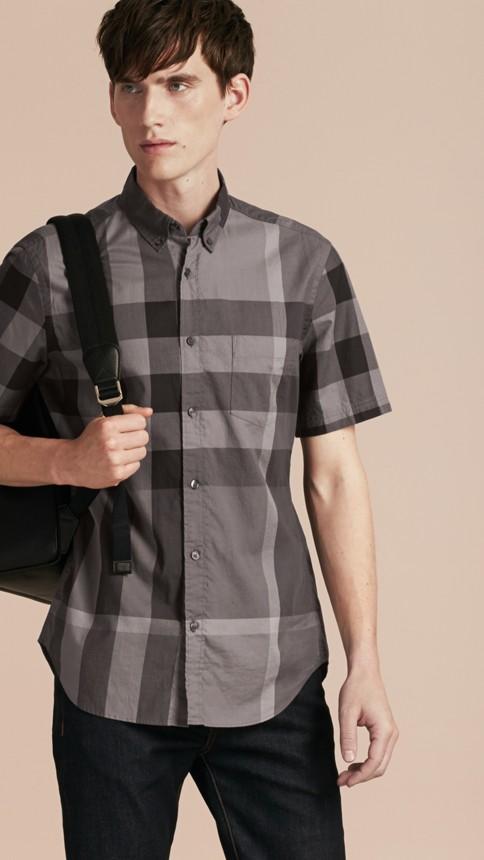 Charcoal Short-sleeved Check Cotton Shirt Charcoal - Image 1