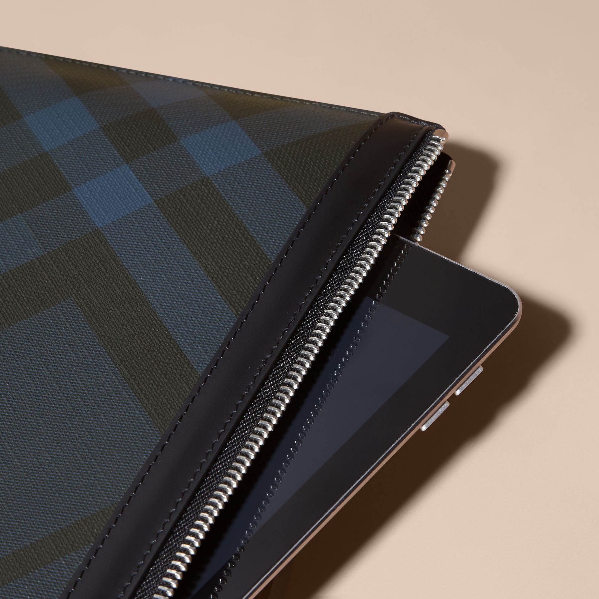 Zipped London Check Pouch in Navy/black - Men | Burberry Australia - gallery image 2
