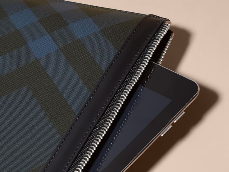 Zipped London Check Pouch in Navy/black - Men | Burberry Australia - cell image 1