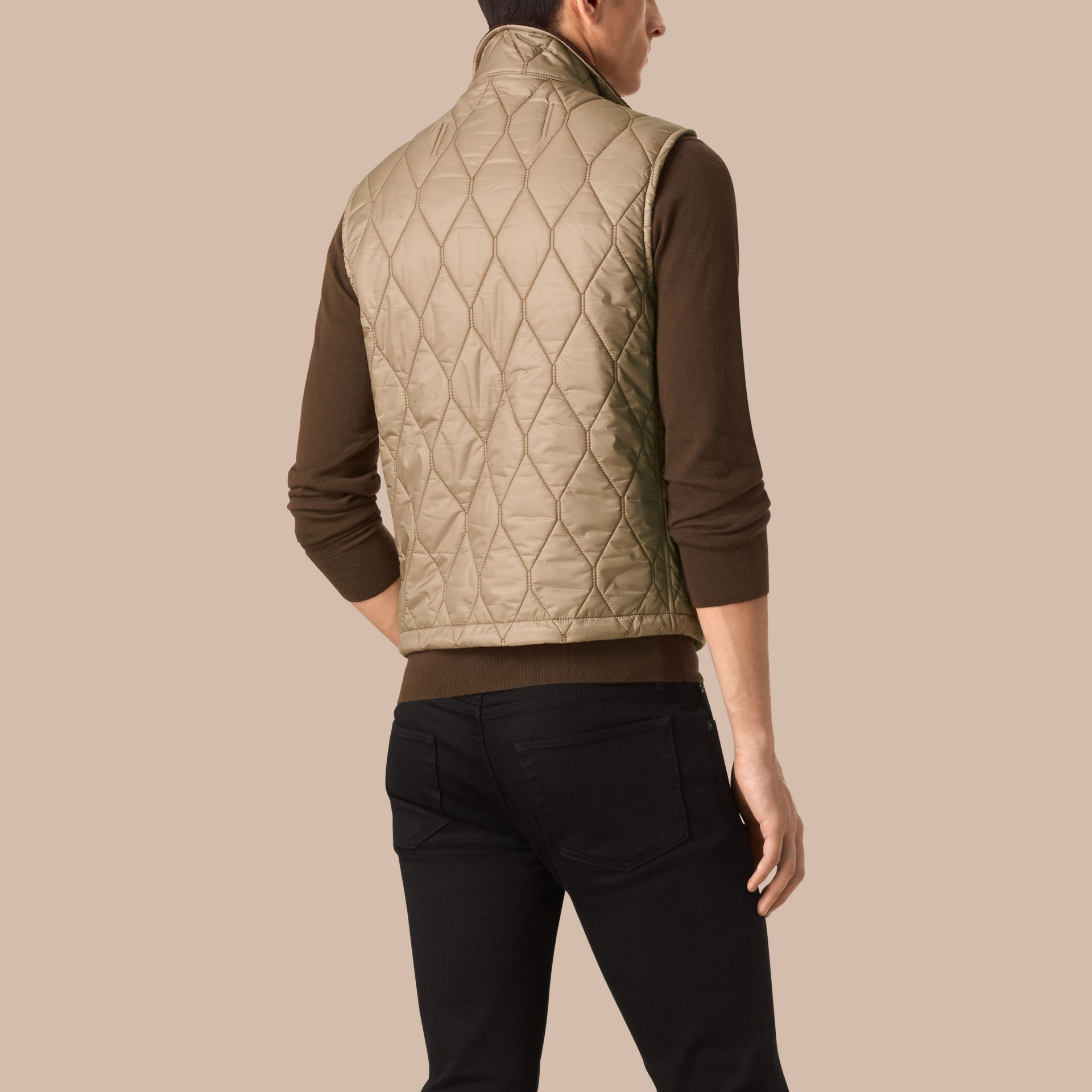 Honey Multi-Pocket Diamond Quilted Gilet Honey - gallery image 2