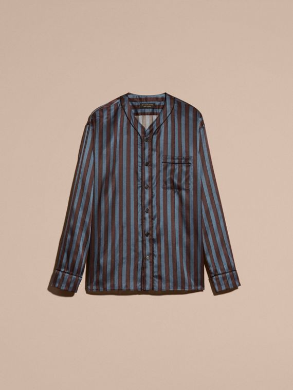Navy Pyjama Stripe Silk Cotton Collarless Shirt - cell image 3