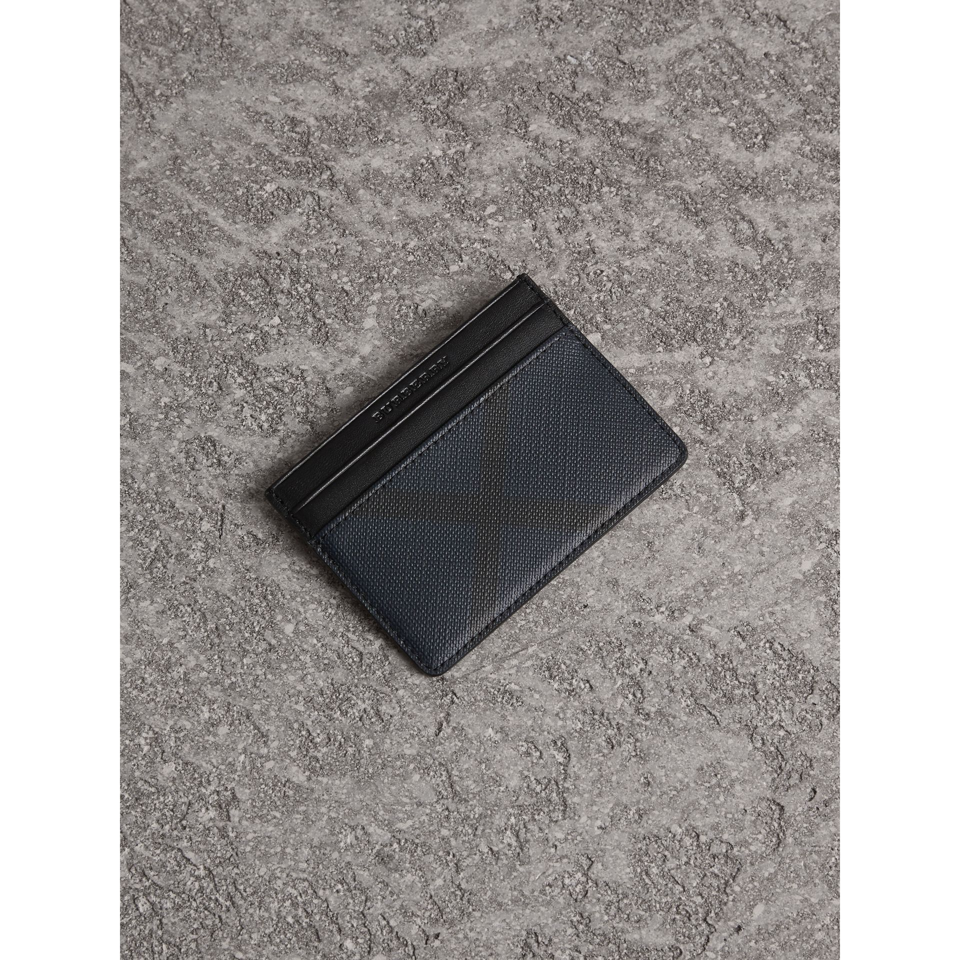 London Check Card Case in Navy/black - Men | Burberry - gallery image 1