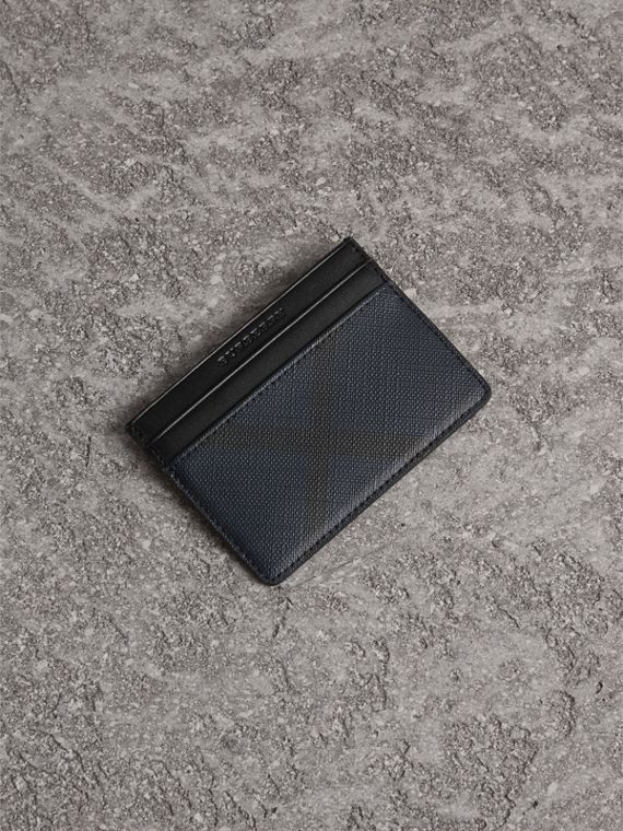 London Check Card Case in Navy/black