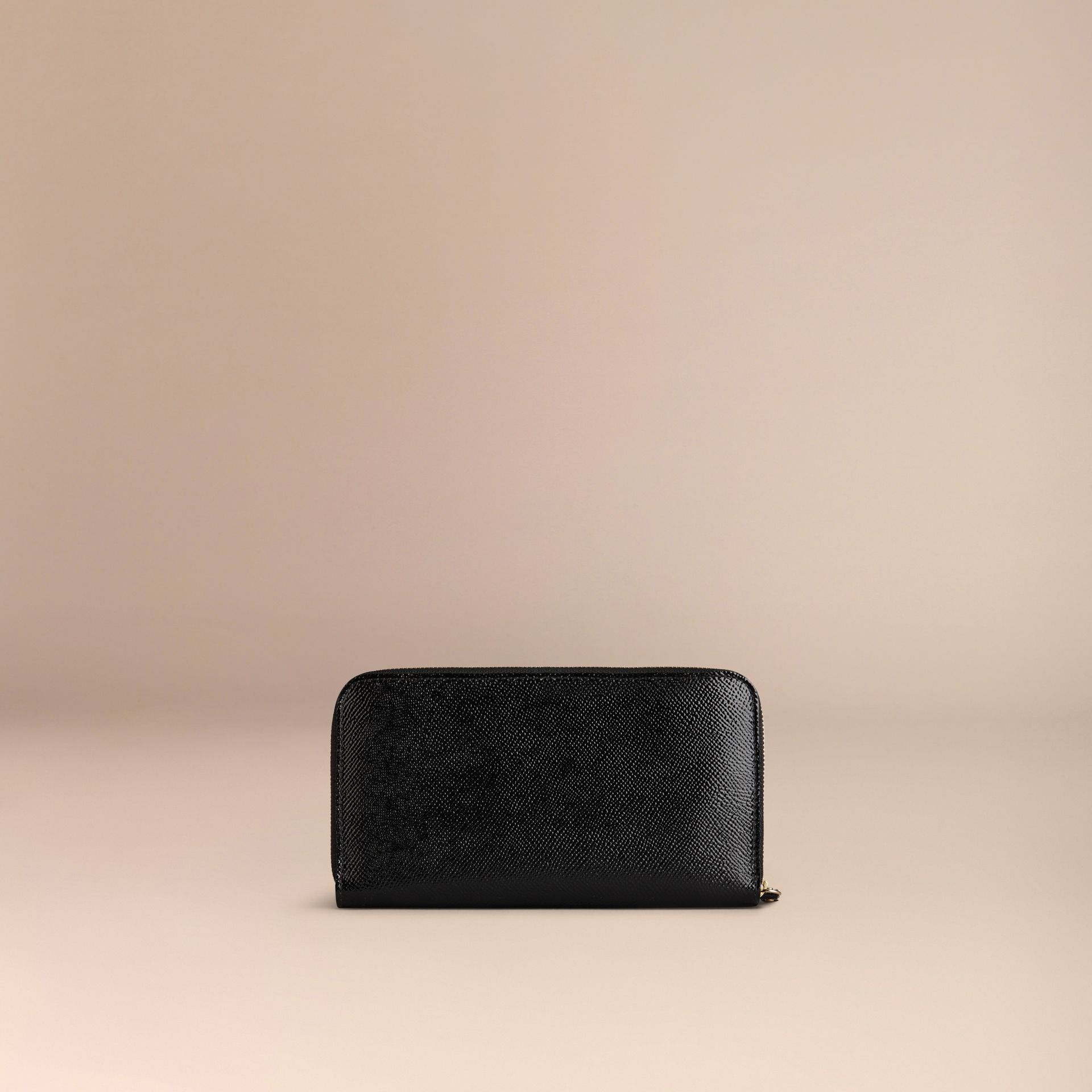 Patent London Leather Ziparound Wallet in Black - gallery image 3