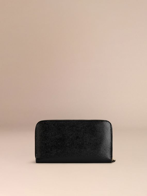 Patent London Leather Ziparound Wallet in Black - cell image 2