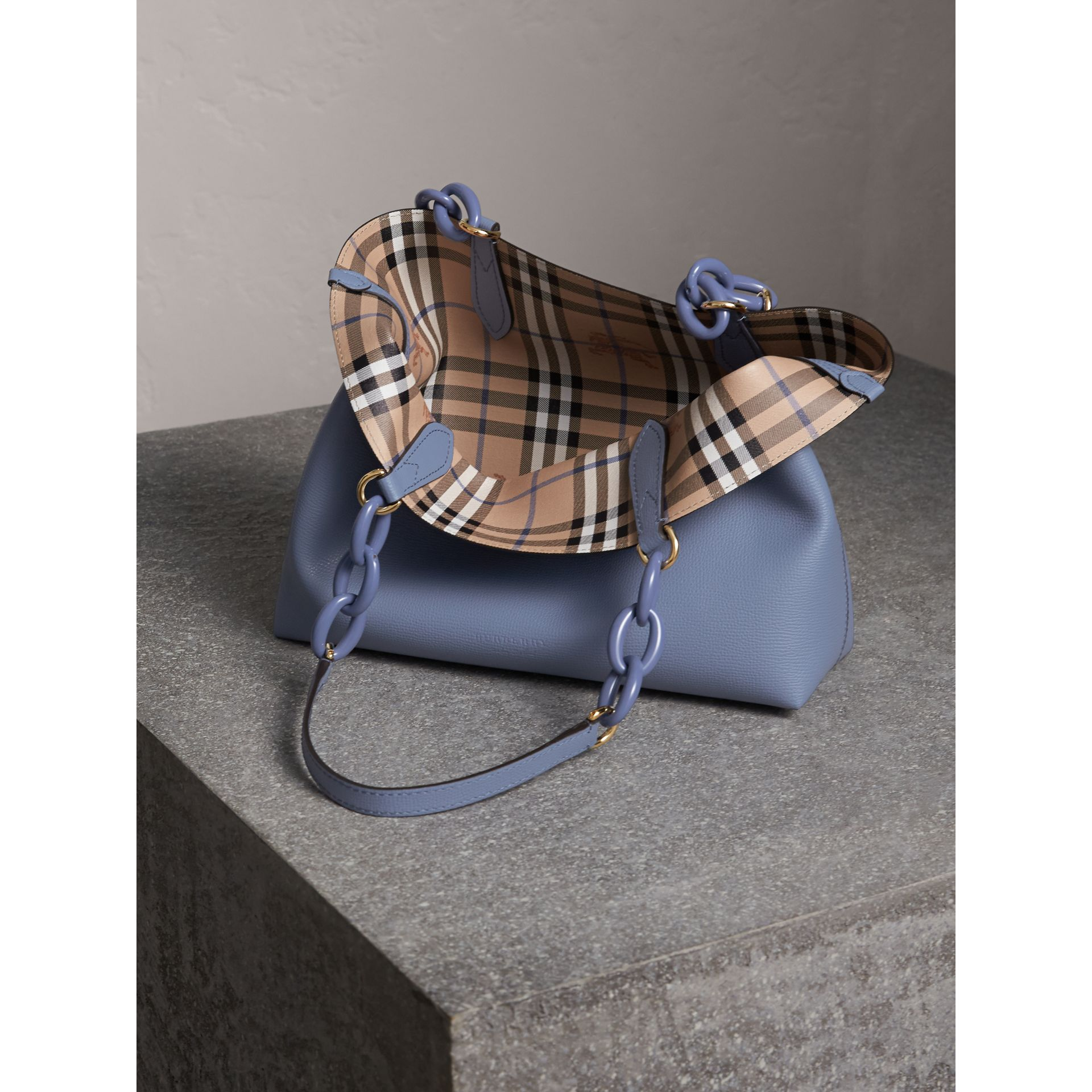 The Small Reversible Tote with Resin Chain in Slate Blue - Women | Burberry United Kingdom - gallery image 6