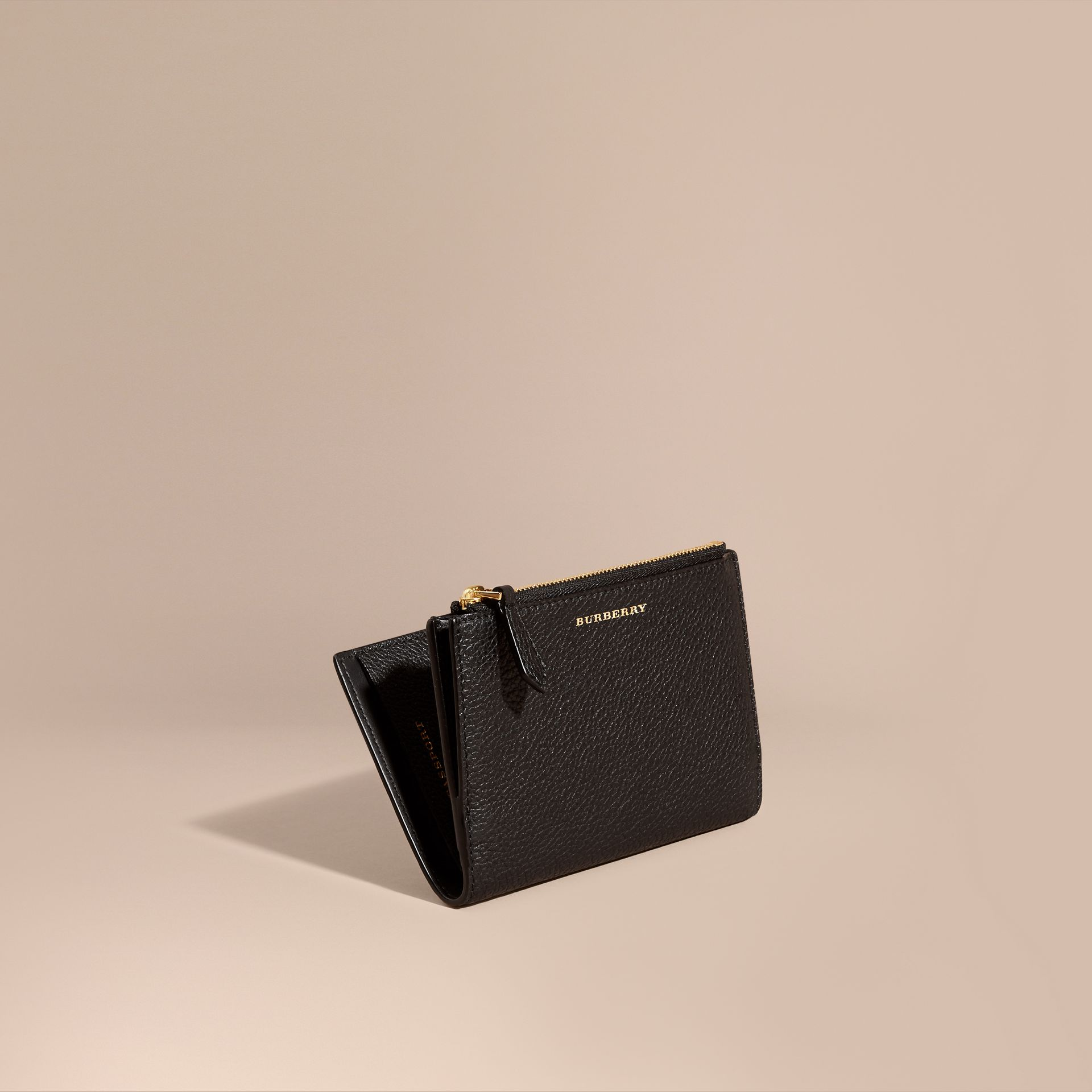 Leather Passport Wallet in Black - gallery image 1