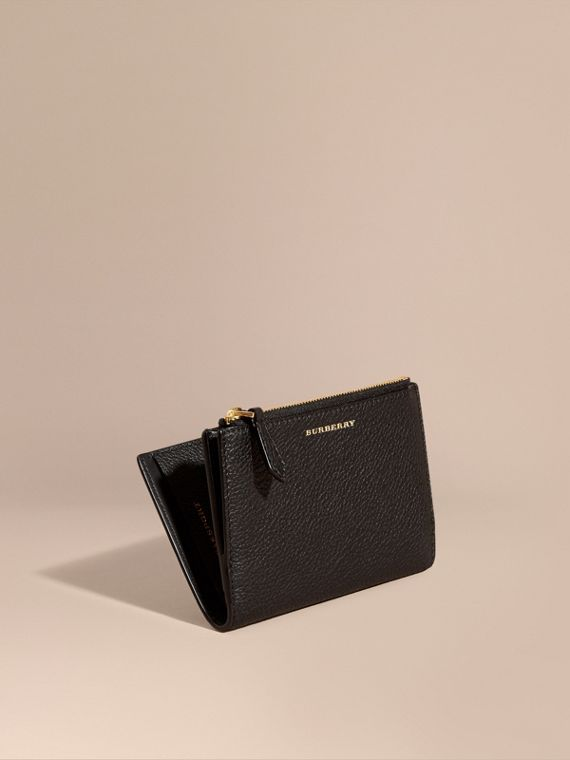 Leather Passport Wallet in Black | Burberry Australia