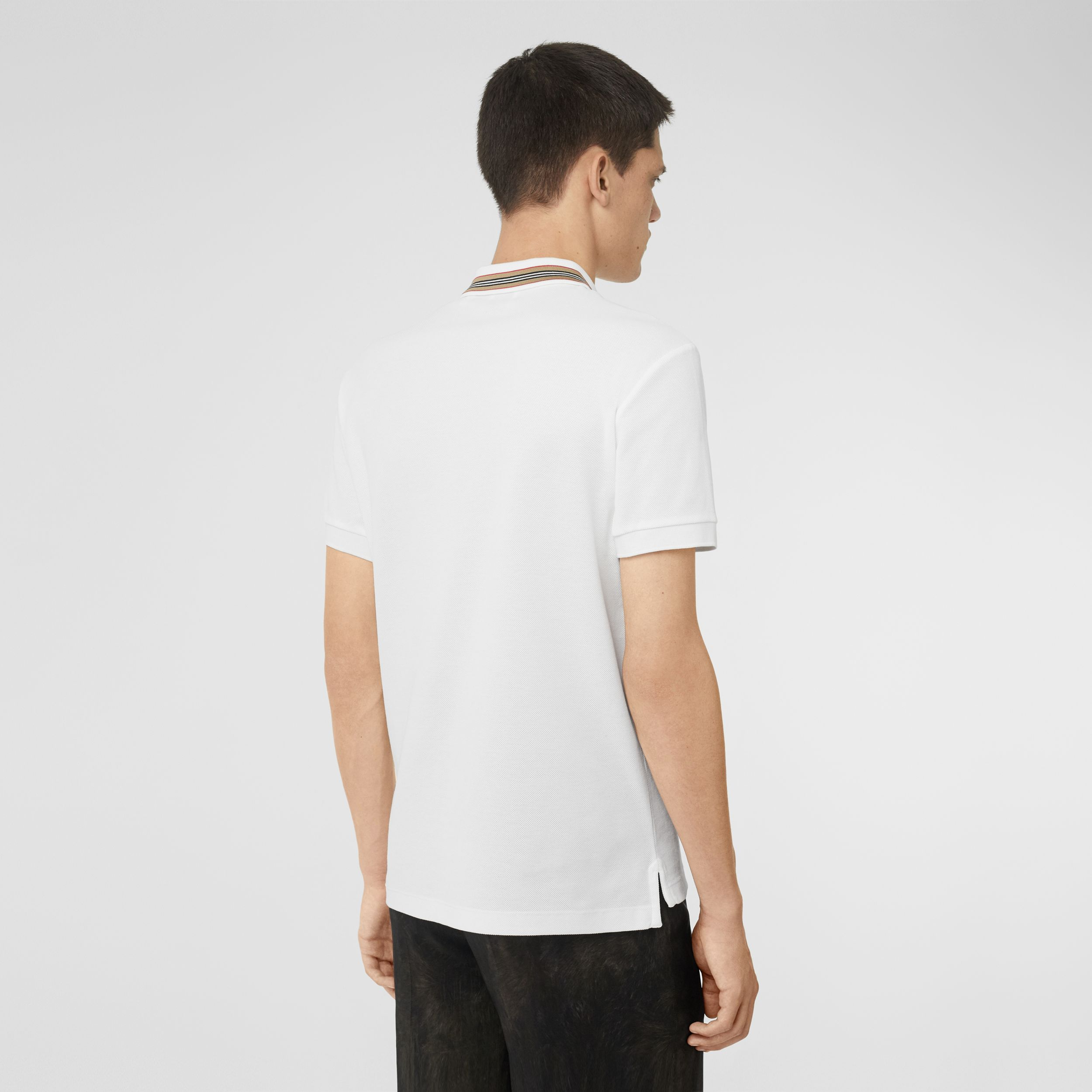 Icon Stripe Detail Cotton Piqué Polo Shirt in White - Men | Burberry - 3