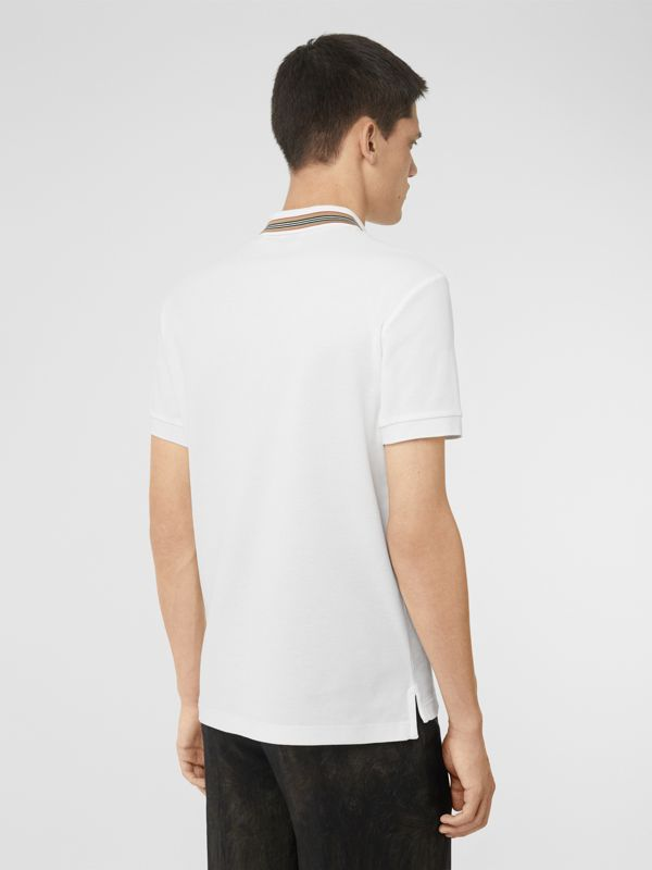 Icon Stripe Detail Cotton Piqué Polo Shirt in White - Men | Burberry - cell image 2