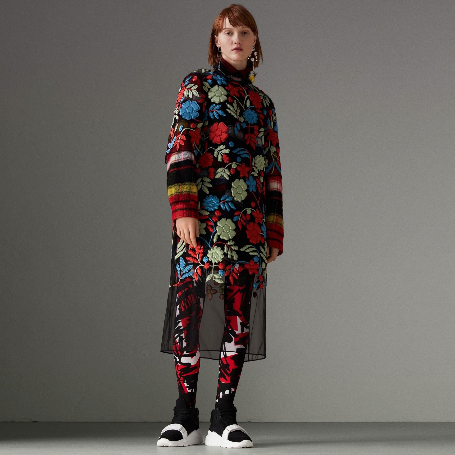 Check Alpaca Wool Jacket in Bright Navy - Women | Burberry United Kingdom - gallery image 0
