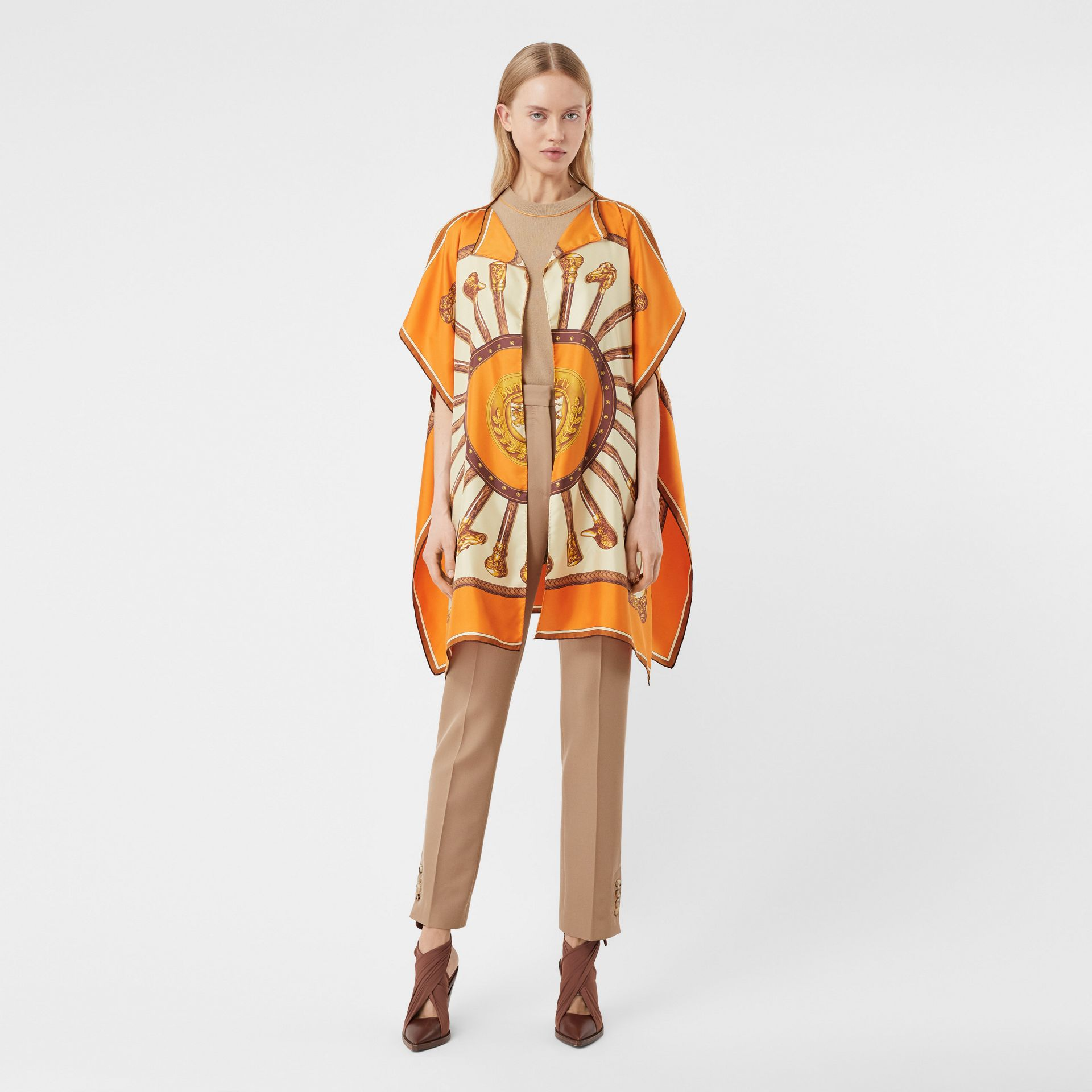 Archive Scarf Print Silk Twill Cape in Bright Orange - Women | Burberry United States - gallery image 0