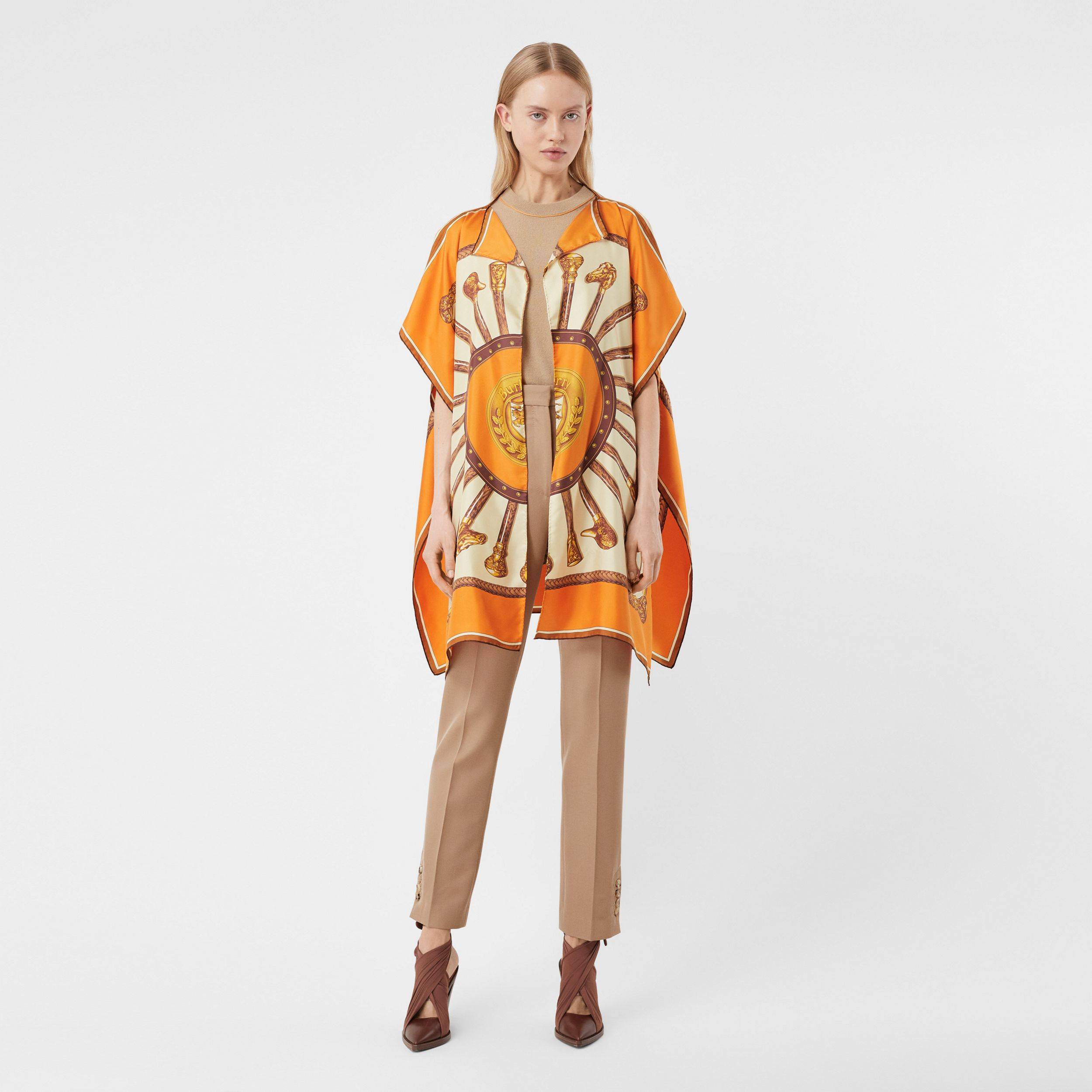 Archive Scarf Print Silk Twill Cape in Bright Orange - Women | Burberry - 1