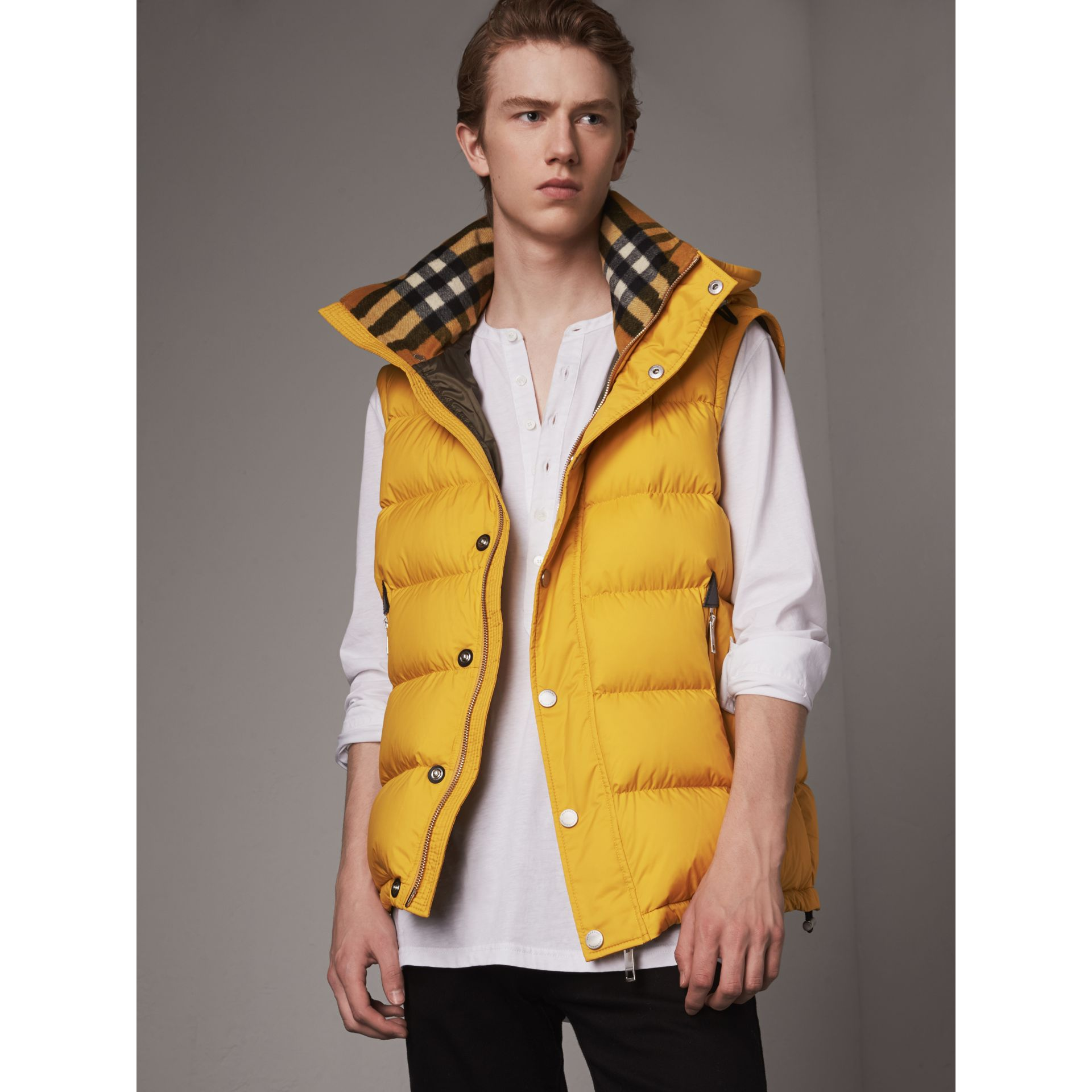 Detachable-sleeve Down-filled Puffer Jacket in Amber Yellow - Men | Burberry - gallery image 6