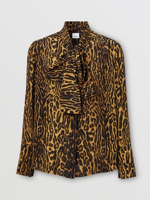 Blusa en gasa de seda con lazada al cuello y estampado estilo leopardo (Mostaza Oscuro) - Mujer | Burberry - cell image 3