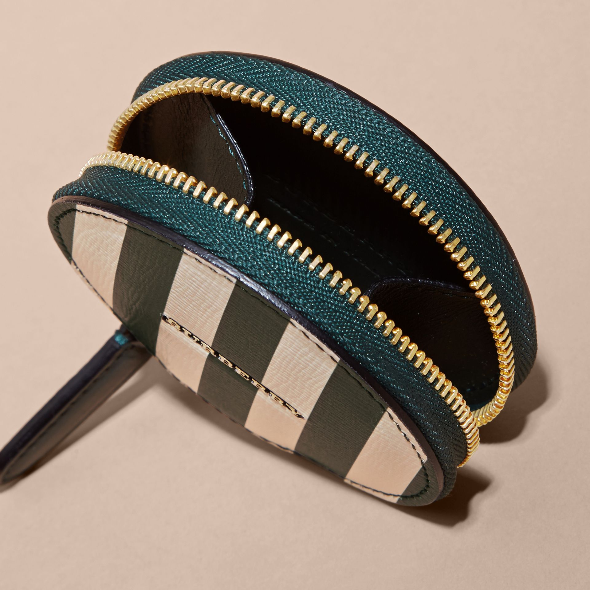 Pyjama Stripe London Leather Coin Case - gallery image 4