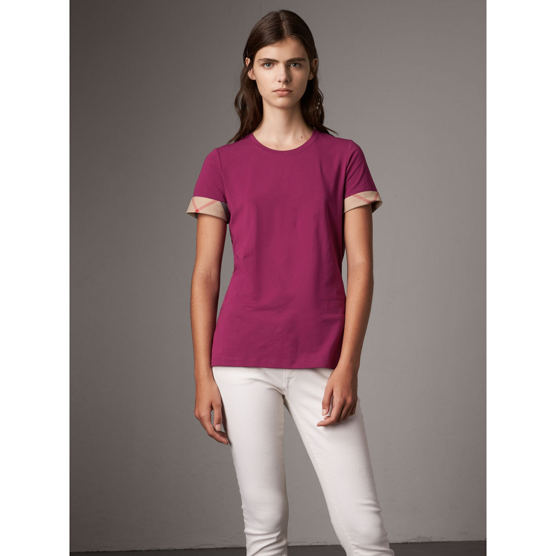 Check Cuff Stretch Cotton T-Shirt in Magenta Pink - Women | Burberry Canada - gallery image 1