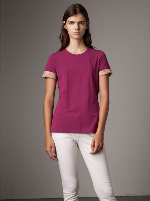 Check Cuff Stretch Cotton T-Shirt in Magenta Pink
