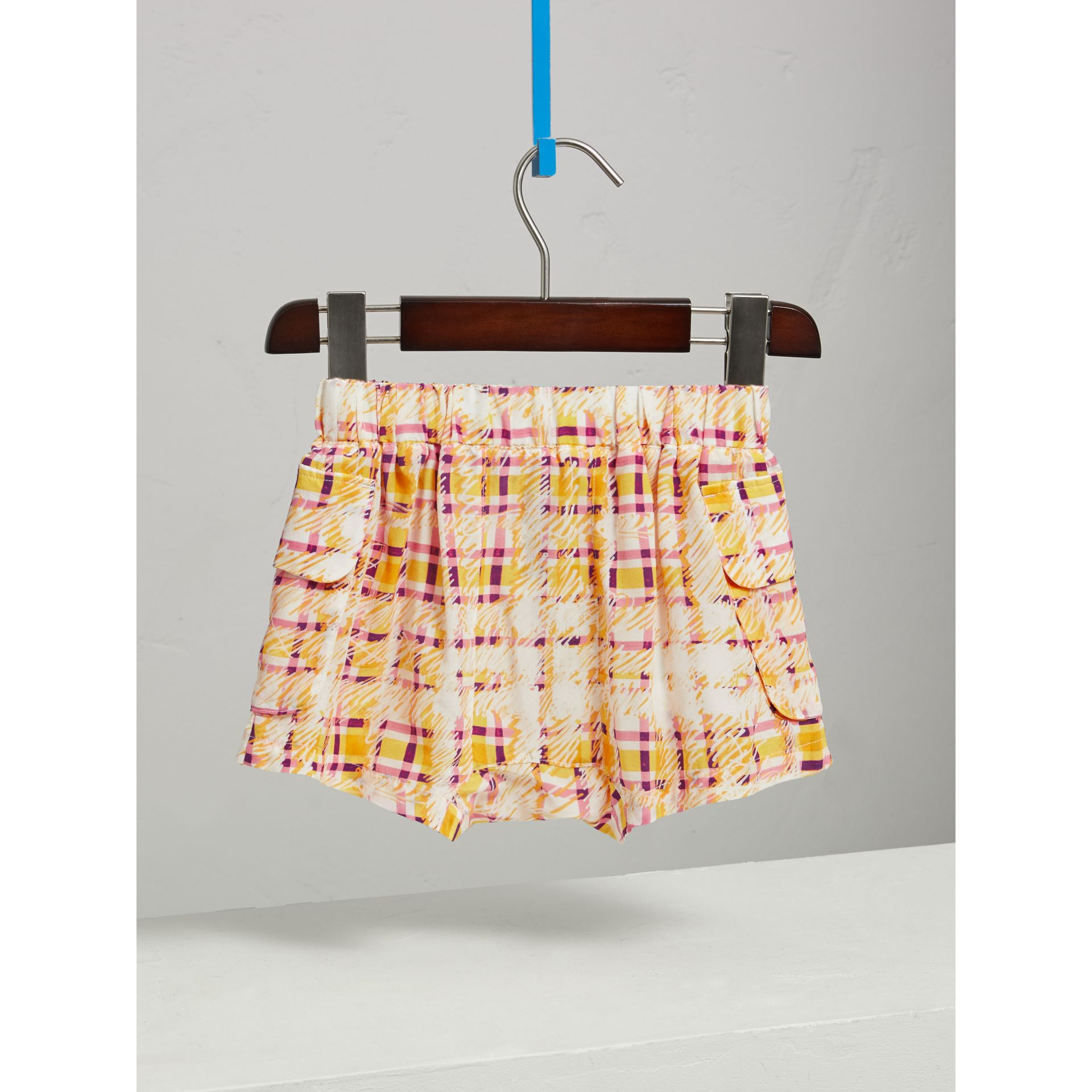 Scribble Check Silk Drawstring Shorts in Amber Yellow - Girl | Burberry - gallery image 3