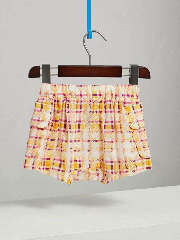Scribble Check Silk Drawstring Shorts in Amber Yellow - Girl | Burberry Canada - cell image 3